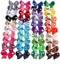 20 stock colors 4 inches grosgrain hairbows with Single Prong alligator clips hair bows wholesale mixed colors alishoppbrasil