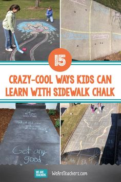 15 Crazy-Cool Ways Kids Can Learn With Sidewalk Chalk. These sidewalk chalk activities provide reading, math, creativity, and critical thinking practice, too! Fun for kids and their grown-ups. Sight Word Activities, Teaching Activities, Teaching Math, Craft Activities, Classic Board Games, Stem Challenges, Learning The Alphabet, Outdoor Learning, Sidewalk Chalk