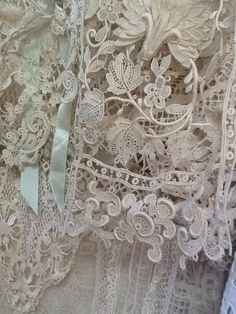 Ever so delicate antique lace. Can be found in markets and charity shops. Lace Ribbon, Lace Ruffle, Lace Fabric, Ruffles, Green Ribbon, Shabby Vintage, Vintage Lace, Shabby Chic, Irish Crochet
