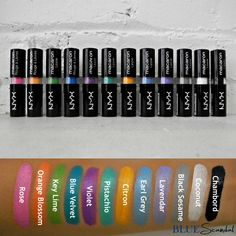 Swatches of the NYX Macaron Lippies! Get crazy with these bold shades to make a statement. Shop at http://bluescandal.com/NYX-Cosmetics-Macaron-Lippies/
