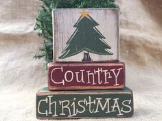Country Xmas Tree Country Christmas 3pc Shelf Sitter Stacking Wood Block Set #PrimtiveCountry