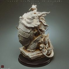 ArtStation - Speedsculpting in 26 days_dayC, Zhelong Xu Mythological Creatures, Fantasy Creatures, Creature Concept, Dragon Art, Zbrush, Clay Art, Game Art, Sculpture Art, Sculpting