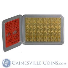 The breakable Valcambi 50 Gram Gold CombiBar (50 x 1g Bars) come complete with an Assay Certificate in a plastic holder! This unique way to hold gold bullion has taken the market by storm, with its ability to be easily separated into 50 mini-bars that each weigh exactly 1 gram. The 50 gram gold CombiBar is the world's first divisible gold bar, and contains 1.6075 oz of .9999 pure gold. http://www.gainesvillecoins.com/category/489/gold-bars.aspx