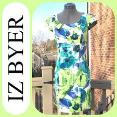 Iz Byer Bright Abstract Floral Dress