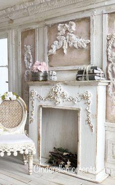 Shabby Chic Fireplace, Shabby Chic Farmhouse, Shabby Chic Cottage, French Cottage, Cottage Style, French Country, Shabby Chic Flowers, Shabby Chic Pink, Shabby Chic Style