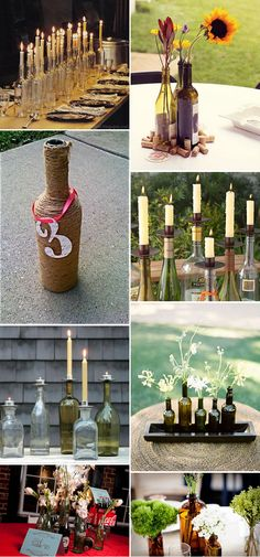I love the mix of wine bottles, flowers, candles, and to make it me, I'll add a tree ring base and some vintage flare : )