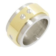 Cartier Cartier 750 White Gold and Stainless Steel Santos Ring Size 7.25 | TrueFacet