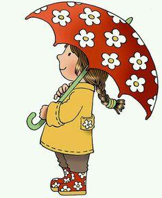 Flowered umbrella