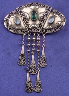 Jugendstil Silver, Moonstone, and Green Glass Brooch, probably Pforzheim