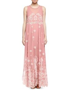 Chloe Floral-Embroidered Mousseline Dress
