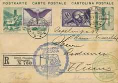"""Italy flight 1933, return flight, registered picture postal stationery card 10 Rp. ""Hospenthal"" with Airmail-MiF from Zürich 26. 5., blue flight stamp and arrival-SST Friedrichshafen 30. 5. on face, transit special cancellation Rome 29. 5., a little toned, scarce document (Longhi 258 - 1. 800 EUR) ""  Dealer Auction house Ulrich Felzmann  Auction Minimum Bid: 220.00 EUR"