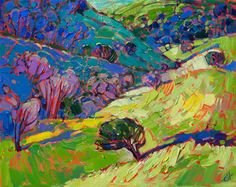 Rich emerald hues comprise this original oil painting by Erin Hanson.