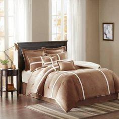 Home Essence Brewer Suede Comforter Set, Brown