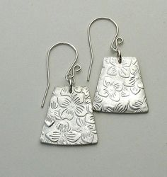 Embossed Silver Metal Clay Earrings by GinasCreativeAccents, $58.00
