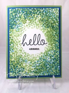 Hello card by Tracy Bradley using Sheltering Tree stamp set in the 2015 Stampin' Up! Occasions catalog www.stampingwithtracy.com