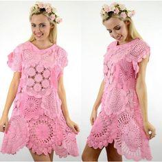PINK Crochet Lace DOILY Doiley Shift Dyed Bikini Beach Wedding Plus Size DRESS