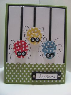 Cute Little Spiders Card...with goggle eyes...so adorable!  SU. The info for this card is under the heading Happy Thoughts on her blog.