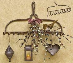 Cute idea as utensil holder or herb drying  in the kitchen Primitive Homes, Candle Sconces, Wall Lights, Appliques, Candle Wall Sconces, Wall Mounted Lamps, Rustic Homes