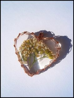 Wire wrapped handmade resin cabochon.