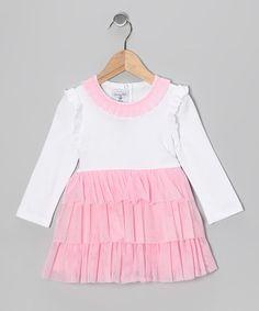 Love this White & Pink Chiffon Ruffle Tier Dress - Toddler on #zulily! #zulilyfinds