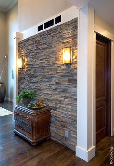 If you want to take a love of exposed stone to the next level, then just wait until you see our gallery of 40 amzing interior stone wall ideas. Stone Wall Interior Design, House Exterior, Stone Accent Walls, Stone Panels, House Design, Home Room Design, Faux Stone Walls, Stone Cladding, Stone Walls Interior