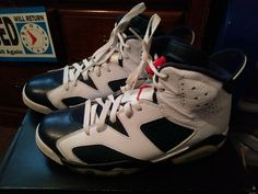 db23a8819b7 2012 Nike Air Jordan 6 VI Retro Size 8.5 Olympic White Navy Blue Red  #fashion