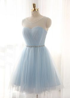 Sweetheart dress,Light Sky Blue Homecoming Dress,Short Prom Dresses,Homecoming Gowns,Fitted Party Dress,Silver Beading Prom Dresses,Sparkly Cocktail Dress
