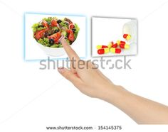 Hand pushing virtual salad instead of pills on white background