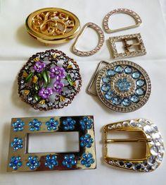Lot of 8 Gold Silver Tone Metal Belt Buckle Parts Rhinestones Enamel Pretty | eBay
