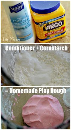 If you're looking for something fun to do with the kiddos, try making this easy homemade playdough using just two common household ingredients. The result is a super soft play dough you can mold and no cooking is required! Fun Diy Crafts, Fun Crafts For Kids, Diy For Kids, Kid Crafts, Disney Crafts, Baby Crafts, Summer Crafts, Toddler Fun, Toddler Crafts