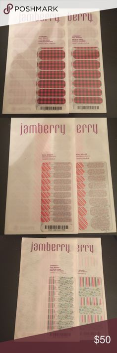 Jamberry nail wraps NEW 7 sheets 2 - Friday flannel, 2 - Jolly Lane Jr, 1 - Tinsel time & 1 - tinsel time jr, & 1 - February hostess exclusive (7 total sheets: 5 regular and 2 jr) jamberry Other