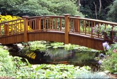 Bridge Over Un-Troubled Waters – Aquascape, Inc. Bridge over backyard pond with koi Japanese Garden Plants, Japanese Garden Design, Garden Landscape Design, Japanese Gardens, Hot Tub Garden, Dry Garden, Garden Art, Pond Bridge, Garden Bridge