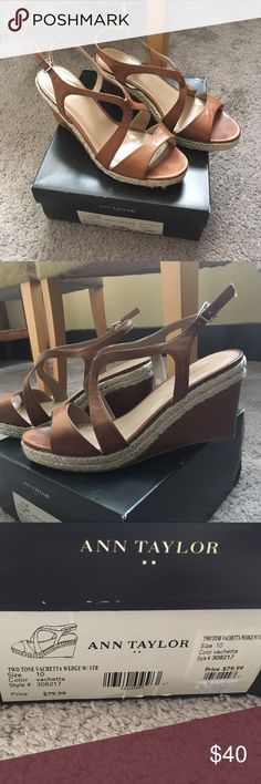 Ann Taylor Two Tone Vachetta Wedges- size 10 Selling ADORABLE used two tone wedges, size 10. Brown with beige/silver rope like material. Super cute on! Comes with original Ann Taylor box. Originally $79.99! 😍😍 Ann Taylor Shoes Wedges