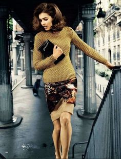 pencil skirt and sweater with a 60's twist
