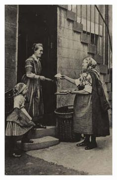 Newhaven fishwife. This image, from the 1940s, shows how little the clothing of the women has changed since the 18th century. The older lady is wearing a cloak over her dress, while the little girl has the pinned striped skirts of the earlier style.