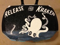 Kraken themed cooler top Fraternity Crafts, Painted Coolers, Release The Kraken, Cooler Painting, Phi Mu, Homecoming, Top, Gifts, Ideas
