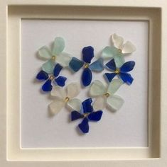 blue seaglass heart wreath picture scottish sea glass flower