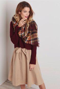 40d6beed175e Burgundy top, tan midi skirt Beige Skirt Outfit, Tan Skirt, Burgundy Outfit,