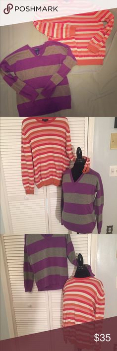 🆕EUC Lot of 2 XL Striped Sweaters. Chaps/Express 🆕EUC Lot of 2 XL Striped Sweaters. Chaps/Express. Both XL Gently worn, and soft and colorful. purple & Gray V-Neck is Chaps brand. Other sweater is Express brand with Pink, Orange, and White Stripes. Stock your closet with these 2 vibrant and warm sweaters! Express & Chaps Sweaters V-Necks