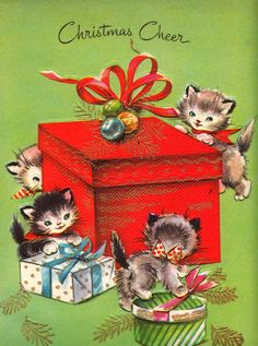 Christmas Cheer Kittens and Presents