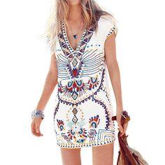 Summer Hot Sale Women Casual Stretch Short Mini Dress Vintage Dress Sexy V Neck Short Sleeve Ethnic Print Vestidos <3