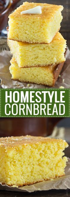 Homestyle Cornbread This Homestyle, Baked From Scratch Cornbread Is A Perfect Mix Of Savory Southern Cornbread And Sweet Northern Cornbread. Cushy And Soft, It's The Only Recipe You'll Need Sweet Cornbread, Cornbread Recipes, Cornbread Recipe From Scratch, Cornbread Recipe Without Baking Powder, Cornbread Recipe Without Cornmeal, Homemade Cornbread, Cornbread Mix, Corn Recipe, Gastronomia