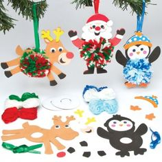Baker Ross Children's Crafts Christmas Hanging Pom Pom Kits (Pack of Childrens Christmas Crafts, Christmas Arts And Crafts, Christmas Craft Projects, Xmas Crafts, Christmas Diy, Christmas Ornaments, Pom Pom Decorations, Christmas Tree Decorations, Pom Pom Template