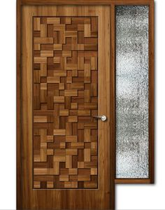 Teak wood finish wooden door with window, 8feet height: