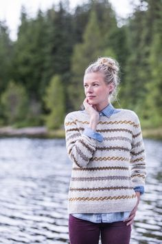 """Ashland"" banded colorwork pullover sweater, designed by Julie Hoover for Brooklyn Tweed."