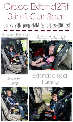 Graco Extend2Fit 3-in-1 Convertible Car Seat grows with your child! It fits babies and children from 4 lbs to 100 lbs.This is an excellent extended rear facing car seat and can rear face a child up to 50 lbs with an extendable panel that allows for up to 5 extra inches of rear-facing leg room.