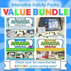 Apraxia - Interactive Apraxia Activities Value Bundle  This value bundle currently contains three packets (Farm, Winter Snow and Bath Time Themes). However this is a progressive bundle meaning that you will receive all future updates for FREE! There will be a minimum of 4 packets in this bundle when it is complete.