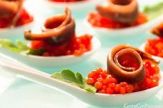 Anchoa del Cantabrico sobre caviar de tomate