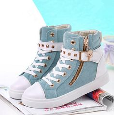 Hot Women Casual Sneakers Rivets Buckle Zipper Walking Sport Canvas Shoes Source by Casual Sneakers, Casual Shoes, Cute Shoes, Me Too Shoes, Fashion Boots, Sneakers Fashion, Fashion Fashion, Womens Fashion, Fashion Outfits