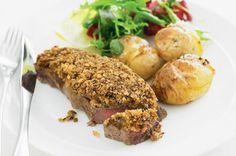 Grilled Steak with Mushroom Crust